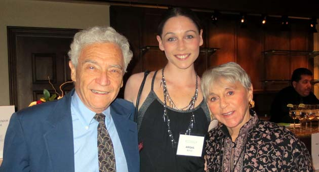 <p>Royal New Zealand Ballet dancer Abigail Boyle with event sponsors Yoel and Eva Haller at a reception following Wednesday night&#8217;s performance of &#8220;Giselle&#8221; presented by UCSB Arts &amp; Lectures at the Granada Theatre.</p>