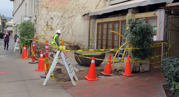 <p>A new covered patio is going up at Bouchon on Victoria Street in downtown Santa Barbara after non-native, invasive ficus trees were recently removed. Owner Mitchell Sjerven hopes to reopen the space by mid-March.</p>
