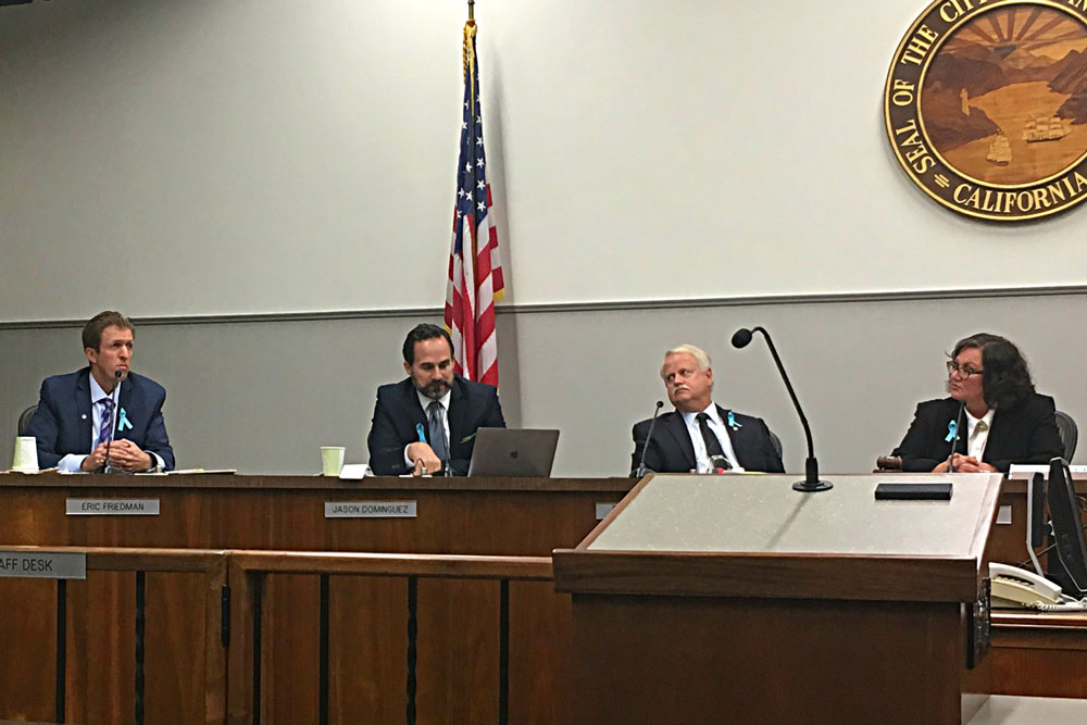 Santa Barbara City Council members, from left, Eric Friedman, Jason Dominguez and Randy Rowse and Mayor Cathy Murillo. On a 3-2 vote Tuesday night, the council rescinded its appointment of Dominguez to the Santa Barbara County Association of Governments board and named Murillo to the panel instead.