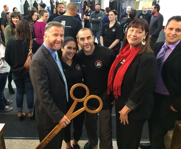 <p>Goleta Mayor Pro-Tem Paula Perotte, right, joins Friday&#8217;s ribbon-cutting ceremony at the Santa Barbara Krav Maga Family Self-Defense Center in Old Town Goleta.</p>