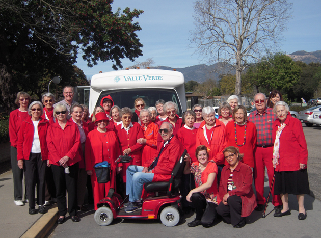 Residents and staff of the Valle Verde retirement community in Santa Barbara recently gathered to celebrate National Wear Red Day, a campaign by the American Heart Association to raise awareness among women of the dangers of heart disease. Valle Verde celebrates the campaign each year in hopes that gathering as a group will inform others about the risks of heart disease. Residents of Valle Verde also gave monetary donations to the American Heart Association in support of the Go Red™ for Women campaign. (Valle Verde photo)