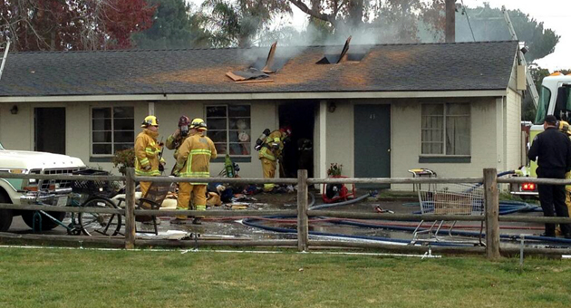 <p>Santa Maria firefighters battle a blaze Friday at the Laz-E Daze Retirement Center in the 1300 block of North Broadway.</p>