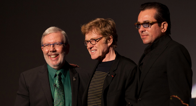 <p>Film critic Leonard Maltin, left, actor Robert Redford and Santa Barbara International Film Festival Executive Director Roger Durling at the Arlington Theatre, where Redford received SBIFF&#8217;s American Riviera Award on Friday night.</p>