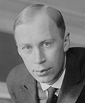 Sergei Prokofiev, piano player, arriving in New York in 1918.