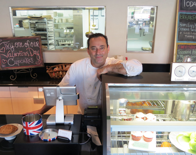 Sage & Onion Cafe owner Steven Giles has reopened his shop in Kellogg Square in Old Town Goleta, where he says he would love to see more restaurants open for those who work in the area. (Gina Potthoff / Noozhawk photo)