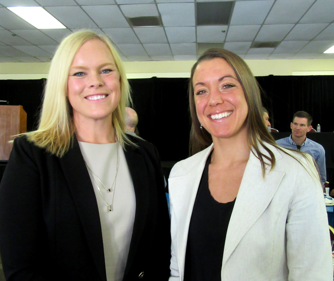 Athletes Alison Bernal, left, and Jill Deering were the stars of a panel discussion at the National Girls and Women in Sports Day event.