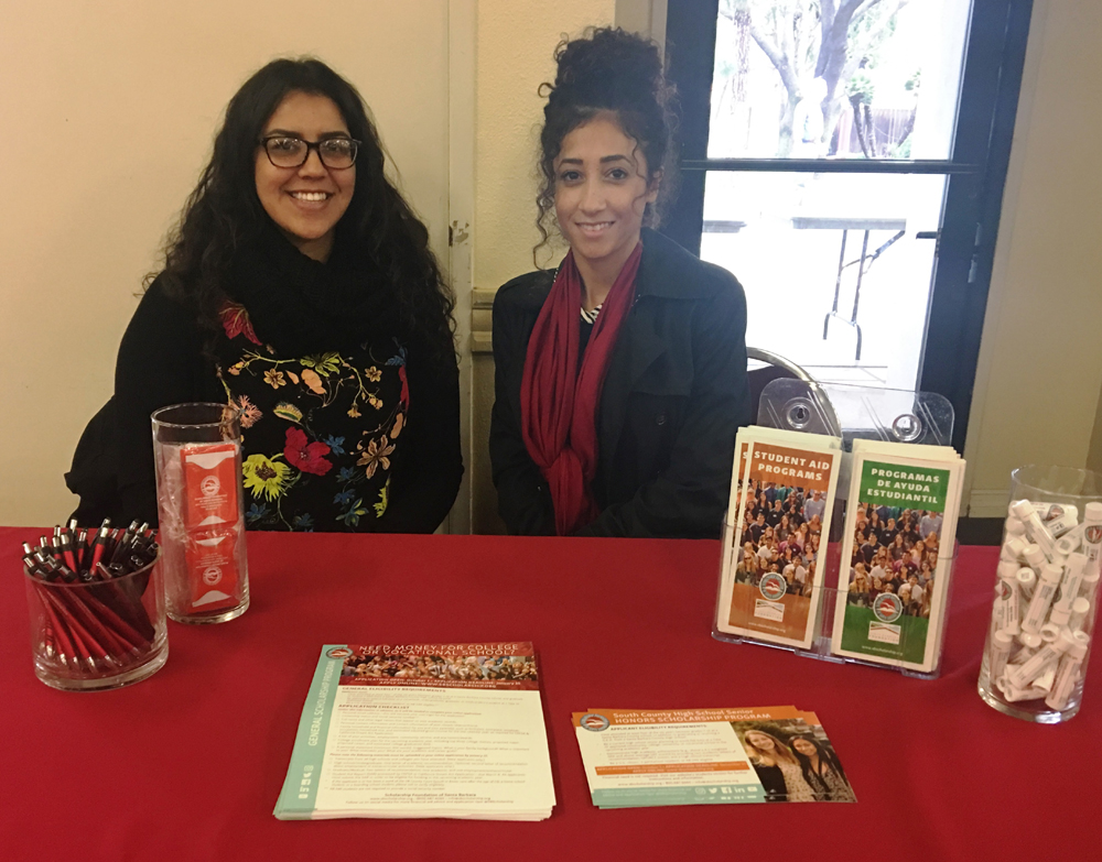 Scholarship Foundation of Santa Barbara representatives Samantha Alvarez, left, and Jelaf Altoma were on hand to provide scholarship information to student athletes.