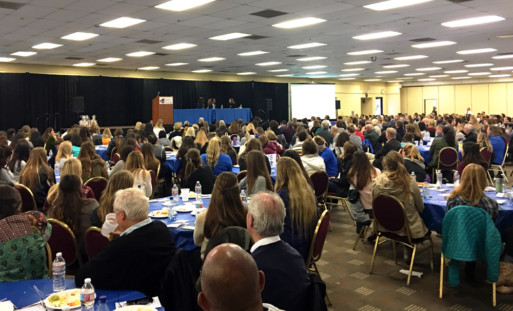 The crowd of nearly 500 attendees included about 450 local student athletes.