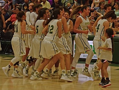 Santa Barbara girls basketball team celebrates beating Ventura for the program's first Channel League title since 1988.