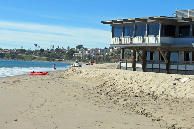 Sand berms were built along the Santa Barbara Yacht Club and East Beach to protect areas from winter storms.