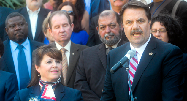 <p>Surrounded by supporters and wife Donna, Sheriff Bill Brown announces his re-election bid Monday at the Santa Barbara County Courthouse.</p>