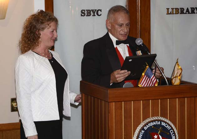 <p>Kirsten Olsen receives the Military Order of the World Wars&#8217; Silver Patrick Henry Medallion for patriotism from Brig. Gen. Fred Lopez.</p>