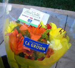 Each bouquet of locally grown flowers is marked with a