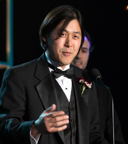 UCSB's Theodore Kim gives his acceptance speech at the Academy of Motion Picture Arts and Sciences' Scientific and Technical Achievement Awards. (Greg Harbaugh photo / Academy of Motion Picture Arts and Sciences)