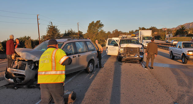 <p>Four people were injured in two collisions Tuesday on Highway 101 near Summerland.</p>