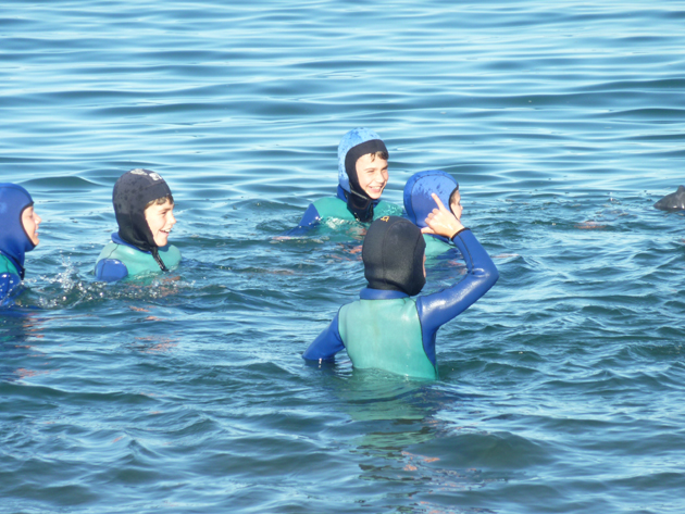 Washington Elementary School students don snorkel gear in search of creatures in the frigid waters of Catalina Island's Marine Institute. (Washington Elementary School photo)