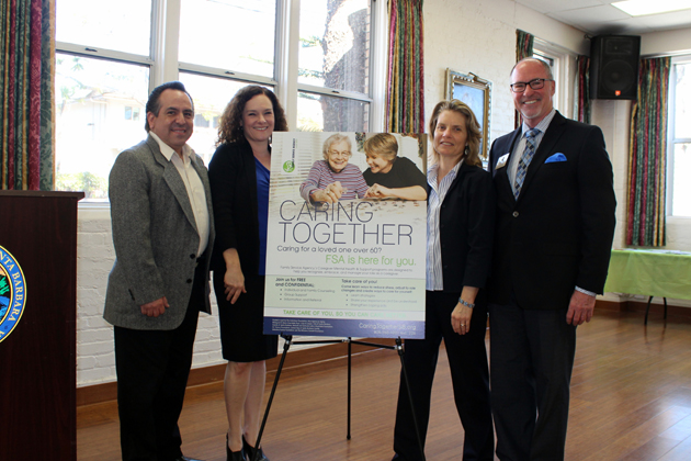 From left, Marco Quintanar, long-term care ombudsman for the Family Service Agency; Cynthia McNulty, LCSW, FSA Senior Services Program manager; Lisa Brabo, executive director of the Family Service Agency; and Gregg Hart, Santa Barbara mayor pro tempore.