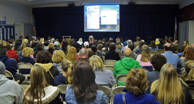 <p>Parents and their children who hope to attend Orcutt Academy High School gathered at the school last week for the annual lottery drawing.</p>