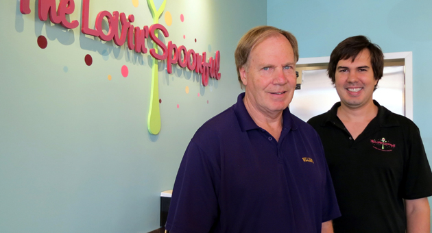 <p>Owner John Borderud, left, has opened The Lovin&#8217; Spoonful frozen yogurt shop on the Mesa with the help of son, Jonathan, who will manage the operation at 2028 Cliff Drive.</p>