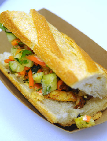 The chicken Banh Mi sandwich from the O Street Truck.