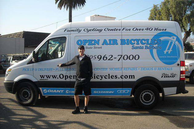 <p>Bicycle transfer between shops, pickup and/or delivery is available courtesy of the Open Air Bicycles shop van.</p>