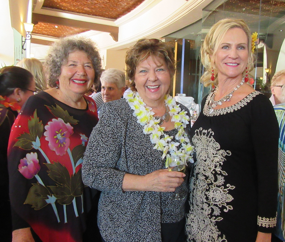 Event auctioneer and emcee Gail Rappaport, left, attendee Arlene Larsen and Friendship Center Executive Director Heidi Holly at Friendship Center's 2017 Festival of Hearts at The Fess Parker.