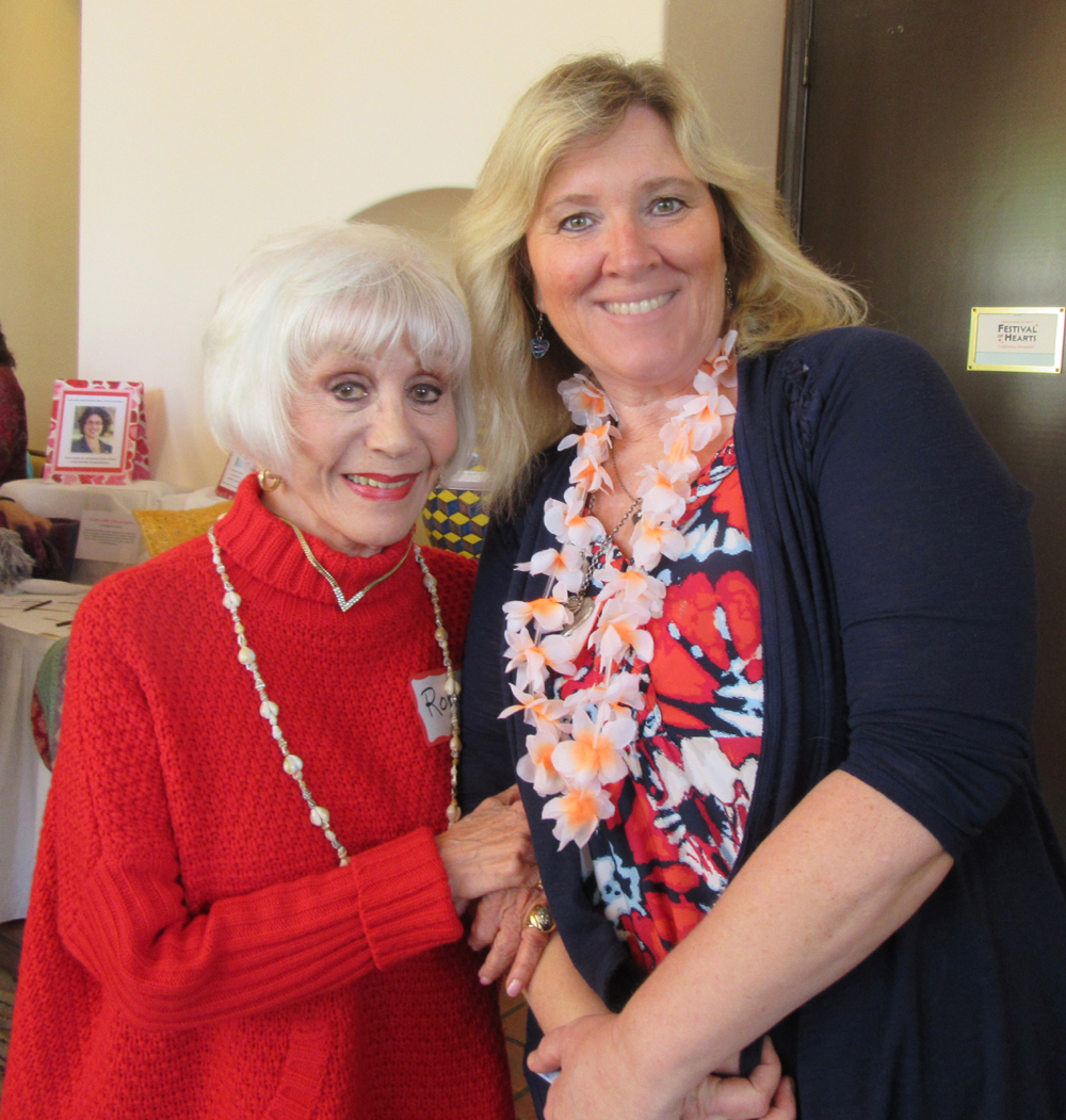 Senior activist and journalist Rona Barrett, left, with Barbara Allcock.