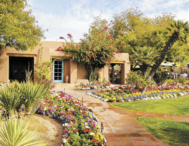 The Hermosa Inn in Paradise Valley, Ariz., boasts tranquility amid native cactus plantings and crayon-colored flower beds. (Judy Crowell / Noozhawk photo)