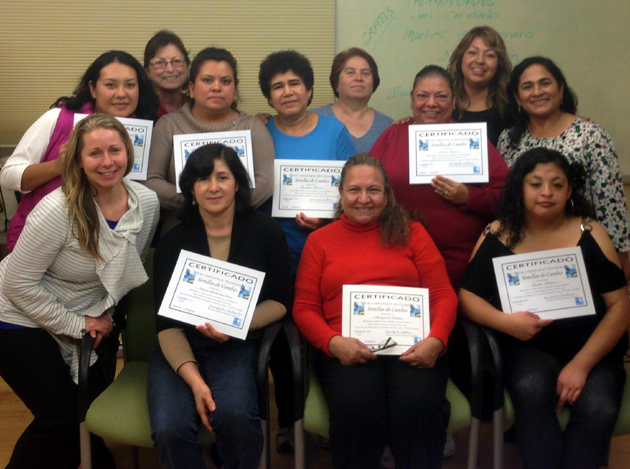The Sansum Diabetes Research Institute's Semillas de Cambio education team includes, back row left to right, Karina Santos, Oralia Madera, Aurora Mendez, Lucrecia Garcia, Martha Meza, Maria Nava, Elizabeth Arias, Mary Conneely; front row left to right, Dr. Kristin Castorino, Maria Arias, Margarita Molina and Leila Garcia. (Sansum Diabetes Research Institute photo)