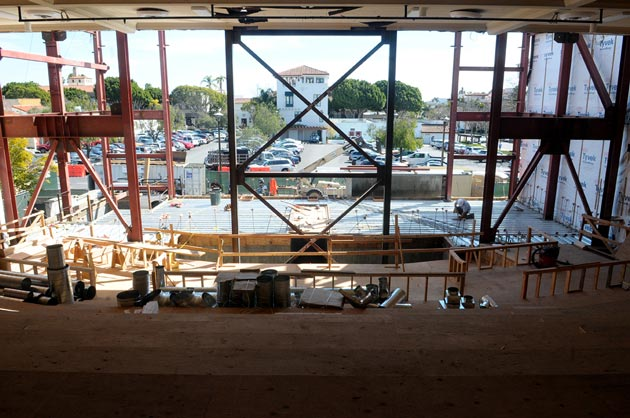 <p>The view from the back of the house at the Victoria Hall Theater — at least until the rear wall is completed. Construction on the New Vic should be finished in the fall, with Ensemble Theatre Company of Santa Barbara expecting to stage its first production in the renovated facility in December.</p>