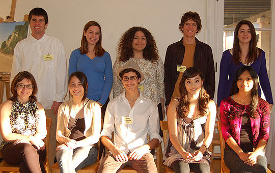 The 2009 Art Scholarship winners are, foreground from left, Susan Schiferl, Anna Nelson, Justin Schmandt, Nikki Pfeiffer and Mariah Robles. Background, from left, Oliver Aquilon, Chelsea Fletcher, Mireya Avila, Christopher Moure and Eleni McKirahan.