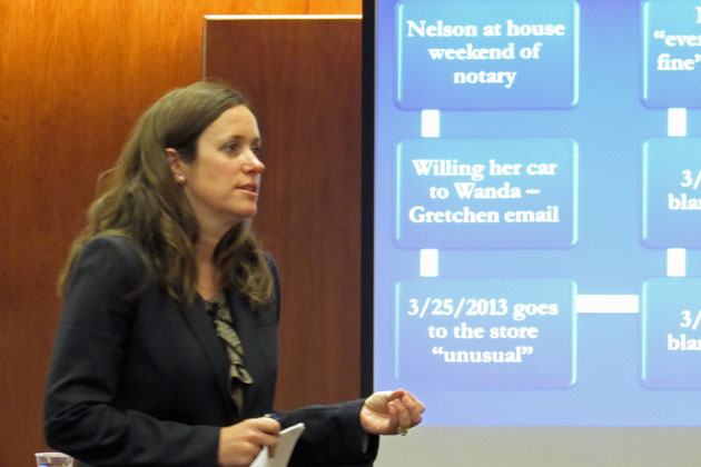 With the aid of a flow chart projected on a screen in court, Senior Deputy District Attorney Cynthia Gresser delivered her closing argument Tuesday in the murder trail of Wanda Nelson, accused of murdering ALS patient Heidi Good in 2013.