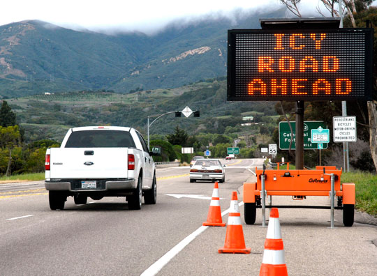 Motorists traveling up Highway 154 on Monday were warned of slick conditions on San Marcos Pass.