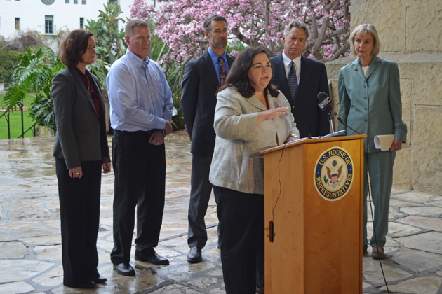 Federal regulators from the Pipeline and Hazardous Materials Administration released a preliminary report into the Refugio Oil Spill investigation Wednesday. Administrator Marie Therese Dominguez, center, said external corrosion caused the spill.