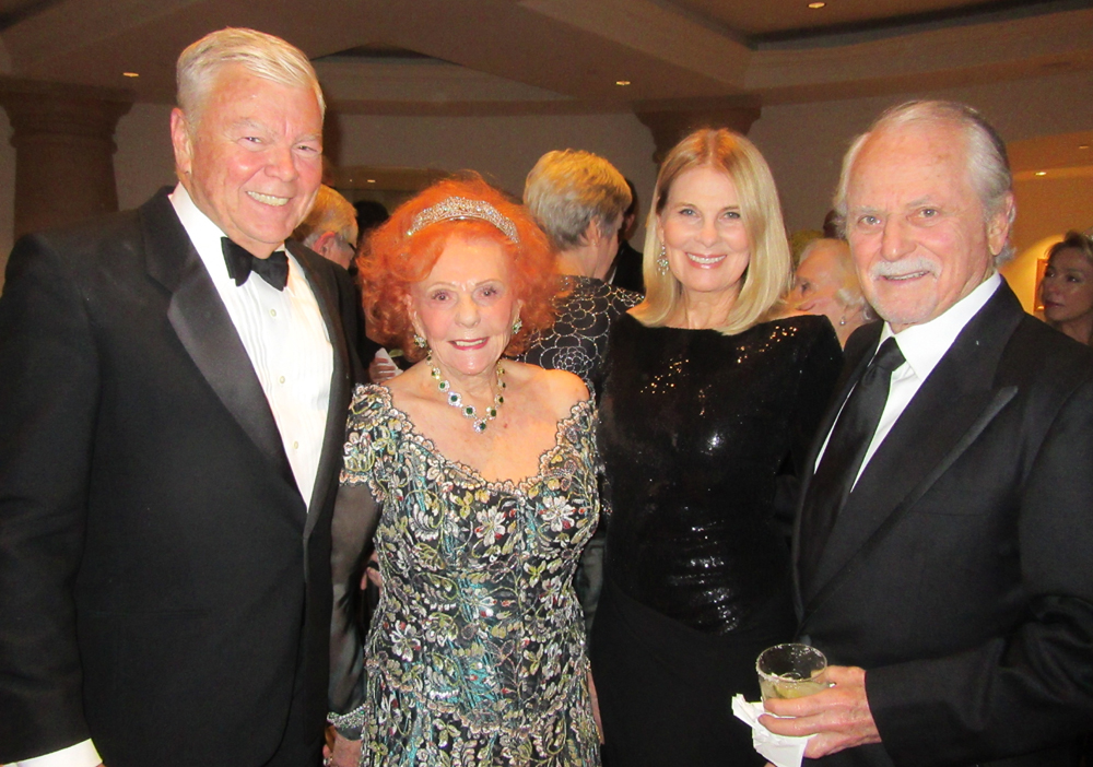 Heart Sponsor Lady Leslie Ridley-Tree, second from left, with Don Lacy and Solitaire Sponsors Jelinda and Barry DeVorzon at the 2017 Santa Barbara Cottage Hospital Tiara Ball.