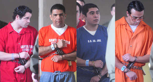 Defendants Michael Cardenas, left, Ismael and Miguel Parra, and Steven Santana all face charges in the fatal beating of Santa Barbara store clerk George Ied.