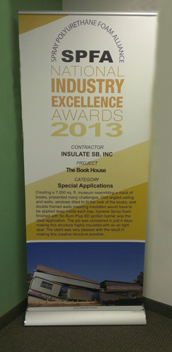 Insulate SB was one of only two excellence-award winners in the category of Specialty Applications presented by the Spray Polyurethane Foam Alliance. (Insulate SB photo)