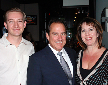 Santa Barbara Teen Star executive producer Joe Lambert, center, with Deckers Outdoor Corp.'s Sean Knotts and Michelle Apodaca. (Melissa Walker / Noozhawk photo)