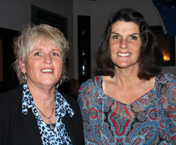 Lin Aubuchon, left, co-executive producer of Santa Barbara Teen Star, with Catherine Remak, judge and K-Lite radio personality, at the Media Launch Dinner. (Melissa Walker / Noozhawk photo)