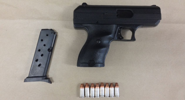<p>A loaded 9-mm handgun was confiscated from Phillip Edmond Cummings, 41, of Santa Barbara, who was arrested Tuesday after he allegedly threatened a neighbor&#8217;s dog with it.</p>