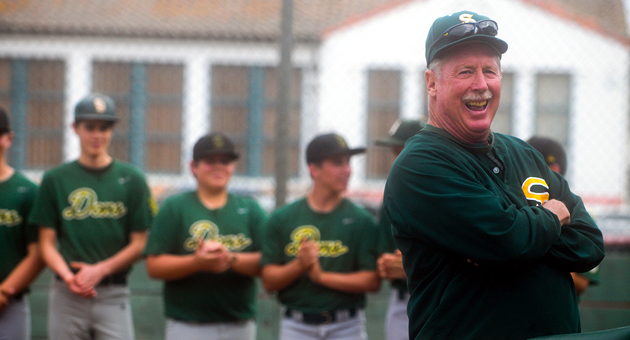 <p>Santa Barbara High School JV baseball coach Bill Oliphant celebrates with his team Tuesday as the field is officially named Oliphant Field.</p>