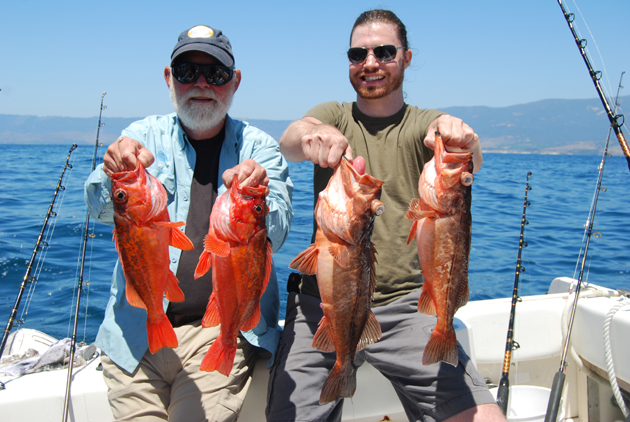 Rockfish season opens March 1, south of Point Conception, marking the opening of our fishing seasons. Red rockfish like these provide hearty, tasty, fresh meals. (Capt. David Bacon / Noozhawk photo)