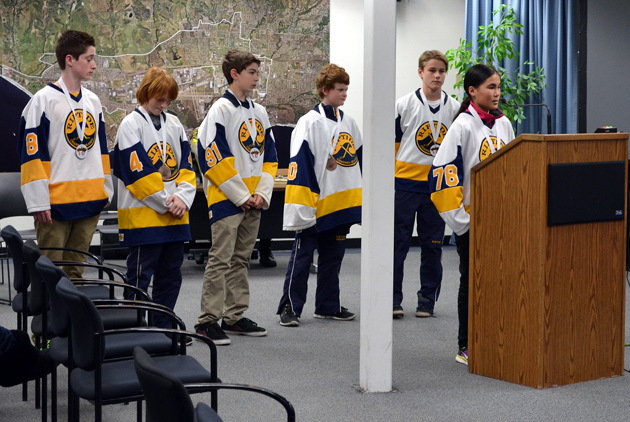 <p>Santa Barbara members of the Oxnard-based Riptide Hockey club urge the Goleta City Council on Tuesday to support waiving fees for the proposed ice rink next to Girsh Park.</p>