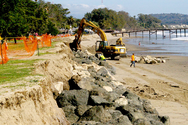 Emergency permits allowed rocks to be placed along the shoreline at Goleta Beach Park in February, an emergency project to stem storm-caused erosion. The permits issued by the Coastal Commission required the erosion measures to be removed by the end of May.