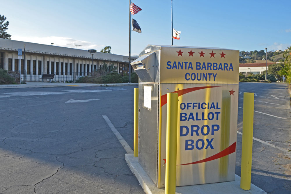 A ballot box stands outside the Santa Barbara County Elections Office. Many local races — along with state and federal offices — will be on the June primary ballot in Santa Barbara County.