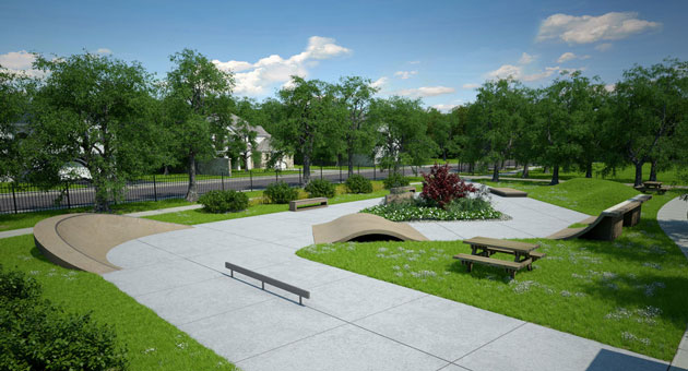 <p>An artist&#8217;s rendition depicts a proposed skate park that is planned for the corner of Hollister and Kellogg avenues in Old Town Goleta.</p>