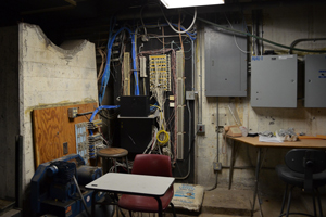 A dingy, below-ground room at SBCC is just one of the many facilities that would be renovated if district officials pursue improvement bonds in 2014. (Giana Magnoli / Noozhawk photo)
