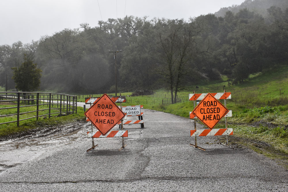 Alisal Road near Solvang is closed south of town due to major road damage caused by last week's major storm.