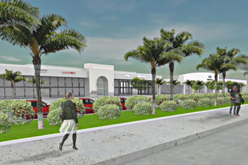 An artist rendering shows what new auto dealerships proposed for Santa Barbara Airport property would look like.