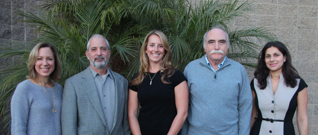 Jewish Federation of Greater Santa Barbara's new board members for 2013, from left, Leslie Cane Schneiderman, David Landecker, Rachelle Pegg, Don Wolfe and Stephanie Locker. (Laura Wyatt photo)